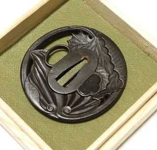 ◆tsuba◆ - Leaf Sukashi - Three Dimentional & Fantastic 73mm Box photo