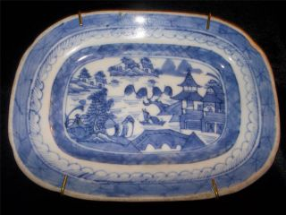 Antique Export Mini Chinese Porcelain Blue And White Canton Platter Ca 18 - 19th C photo