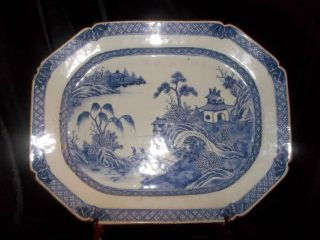 Large Antique Chinese Export Porcelain Blue And White Canton Platter 18 - 19th C photo