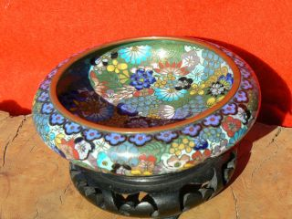 Exquisite Vintage Or Antique Chinese Cloisonne Bowl W Stand photo