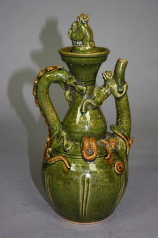 13th – 14th Century Chinese Celadon - Glazed Porcelain Wine Vase (hu) photo