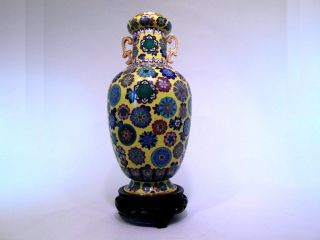 Top Antique Chinese Imperial Gilt Cloisonnee Qing Dyn.  Guangxu Ball Flower Vase photo