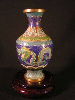 Old Chinese? Japanese Cloisonne Vase,  Scrolling Dragons photo
