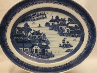 Chinese Porcelain Blue & White Oval Meat Dish With Landscape Scene Decor 19thc photo