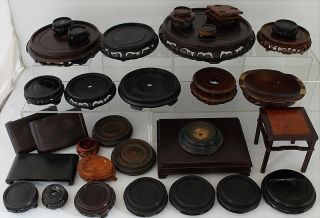 Huge Estate Lot Chinese Wood Rosewood Vase Bowl Figure Censer Display Stands photo