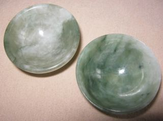 2 Rare Tiny Chinese Small Natural Jade Carved Bowls Antique Style Gift photo