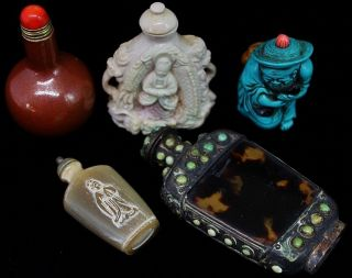 Estate Coll.  5 Chinese Ox Horn Turquoise Opal Stone Porcelain Snuff Bottles photo