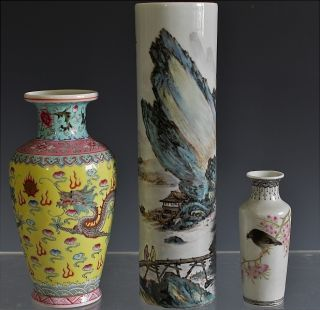 Estate Coll.  3 Fine Chiense Famille Rose Scenic Dragon Signed Porcelain Vases photo