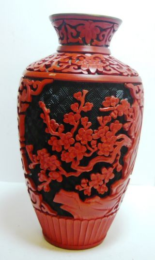 100% Old 1950s Red Cinnabar Lacquer Chinese Carved Vase Blue Cloisonne photo