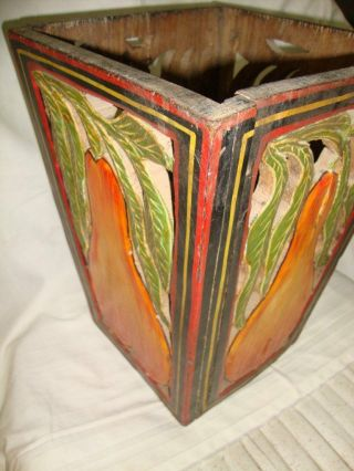 1937 ' S Old Rare Vintage Painted Carving Basket Folding photo