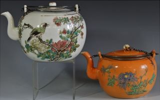 2 Fine Chinese Famille Rose Orange Ground Enamel Scenic Bird Poem Teapots N/rs photo