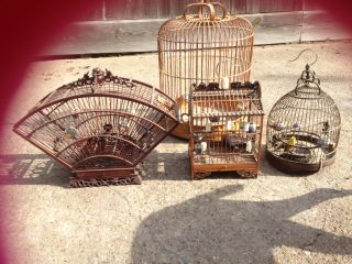4 Bamboo Bird Cages photo