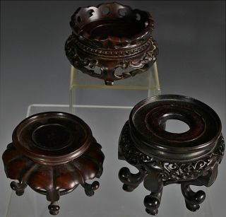3 Superbly Carved Chinese Qing Dynasty Rosewood Vase Bowl Jade Display Stands photo