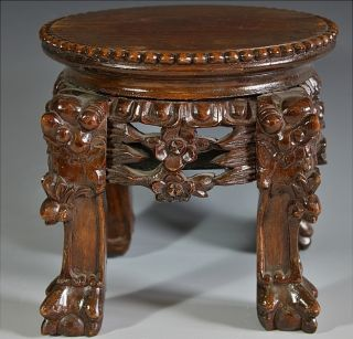 Fine Chinese Carved Rosewood Wood Side Table Form Vase Bowl Jade Figure Stand photo