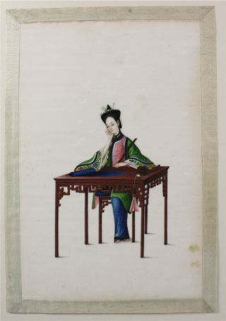 Fine Chinese Rice Pith Paper Painting Of Lady Seated At A Table 19thc photo