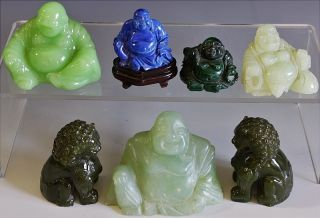 Estate Coll Chinese Carved Jade Blue Malachite Stone Peking Glass Buddha Fu Dogs photo