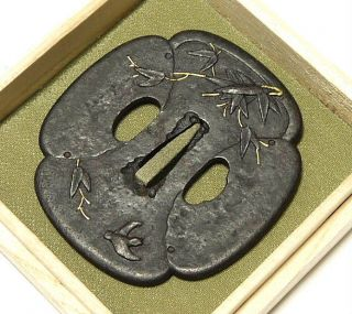 ◆large Tsuba◆ - Bird & Bamboo - Mokko Style Tasteful 86mm Box photo
