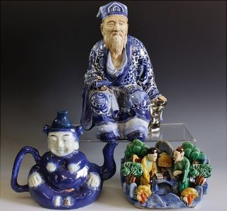 Estate Coll.  Chinese Blue White Scholar Figure Figural Bowl Wine Pot Teapot N/r photo