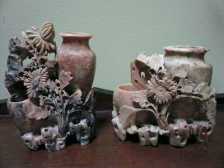 Two Older Vintage Chinese Soapstone