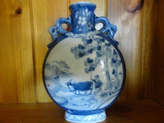 Old Chinese Blue And White Porcelain Vase With Kangxi Mark photo