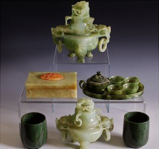 Estate Coll.  Chinese Carved Jade Agate Spinach Stone Censers Wine Cups Box Tray photo
