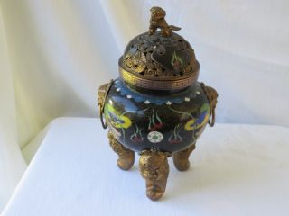 Chinese Cloisonne Enamel Rare Footed Foo Dog & Dragon Incense Burner Vase Nr photo