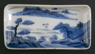Reduced Antique Chinese Canton Blue & White Porcelain Tray Rectangular Dish photo