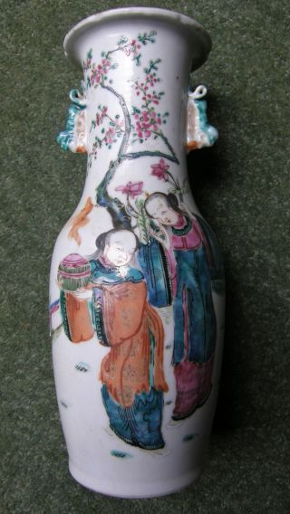 Antique Chinese Vase Famille Rose Vase C18th Lovely Condition. photo