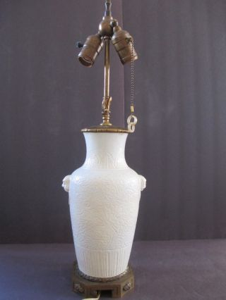 Chinese Antique Porcelain Blanc De Chine Vase With 2 Jade Ring Handles ~ Lamp photo