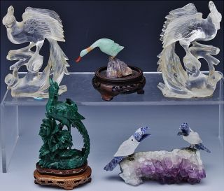 Estate Lot Chinese Jade Rock Crystal Malachite Amethyst Phoenix Bird Duck Figure photo