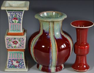 Estate Coll.  3 Chinese Famille Rose Signed Red Flambe Sang De Boeuf Glaze Vases photo