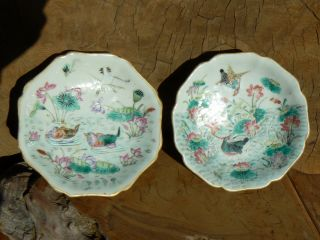2 Antique Chinese Famille Rose Footed Low Bowls Or Dishes photo