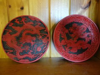 Two Old Red Chinese Lacquer Plates With Carved Dragon photo
