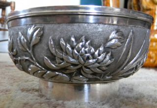 Tuck Chang ? Chinese Export Silver Chrysanthemum Bowl T&c Old Tientsin Estate photo