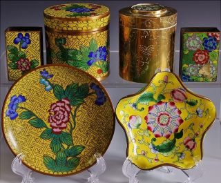 19thc Chinese Famille Rose Cloisonne Imperial Yellow Jar Box Dish Match Safe N/r photo