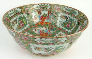 Very Big Antique 19thc Chinese Porcelain Famille Rose Canton Centre Bowl photo