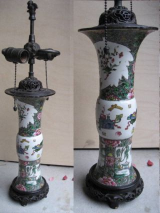 Rare Chinese Famille Rose Vase Mounted As Lamp,  19 Thc photo