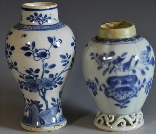 2 Chinese Kangxi / Qianlong Blue White Scenic Floral Vases Tea Caddy Jar photo