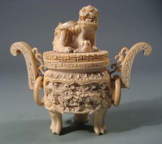 China Chinese Ox Bone Carved Censer W/ Foo Lion Dragon Decor Ca.  1920 ' S photo
