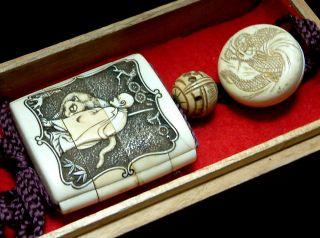 5586 J/p Samurai Antique Kanzan Jittoku & Tora Sennin Zu 3 Case Inro & Netsuke photo
