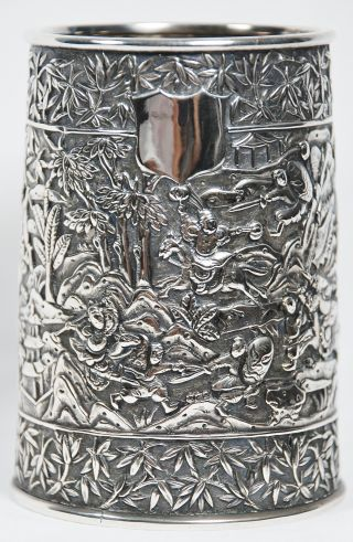 Antique Chinese Export Silver Tankard Hoaching Canton 1850 - 1870 Signed No Mono photo