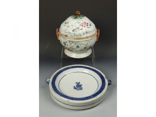 A Chinese Famille Tureen + Chinese Export B/w Hot Water Dish,  Circa 1800 photo