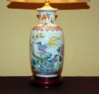 Antique Chinese Export Famille Rose Vase Converted Into A Lamp Qing C.  1900 photo