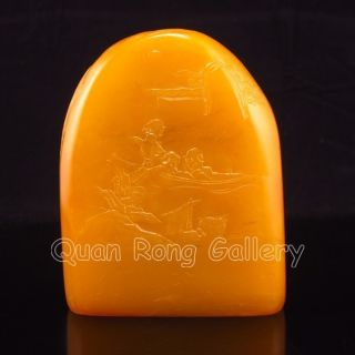 Chinese Shoushan Stone Statue - Sailing On The River Nr photo