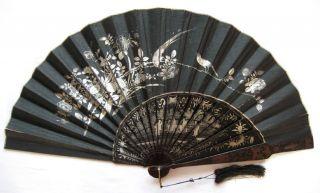 Rare Antique Chinese Export Lacquer Fan Fächer Eventail Ventaglio Abanico 1870 photo