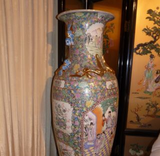 19c Antique Chinese Vase - 5ft Tall photo