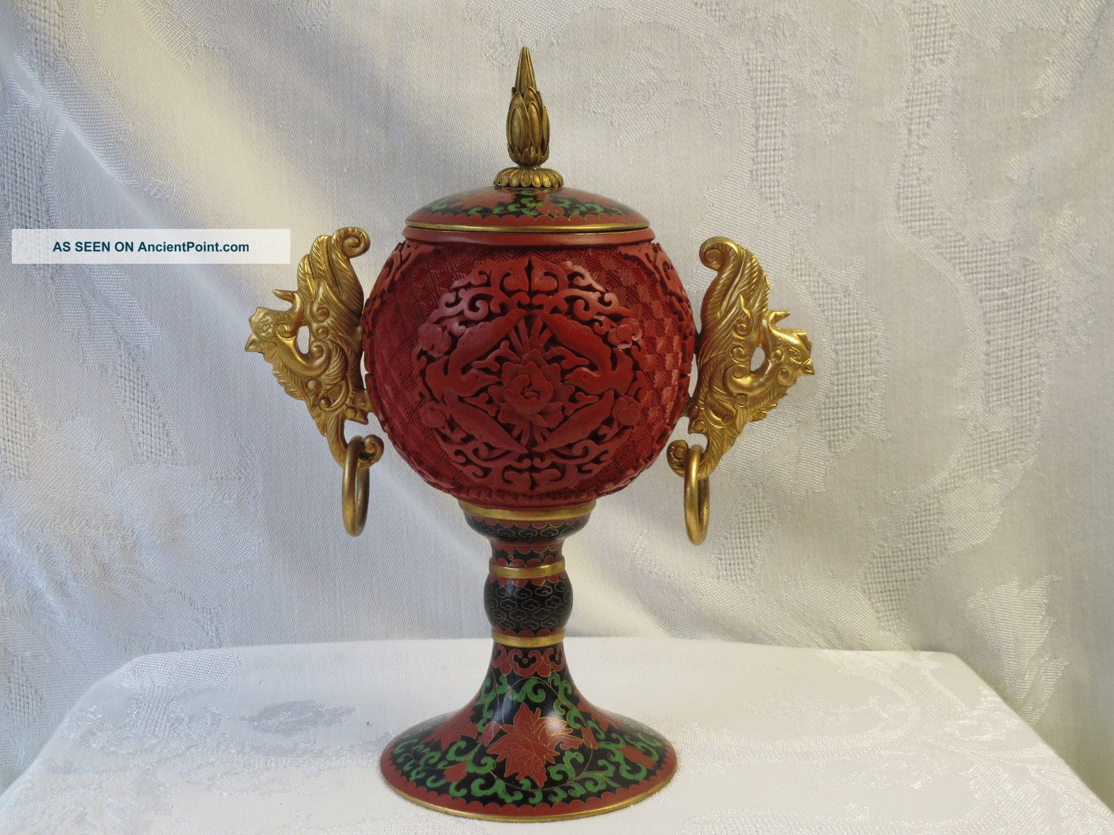 Chinese Cloisonne Carved Cinnabar Lacquer Rare Birds Handle Goblet Box Vase Nr Boxes photo