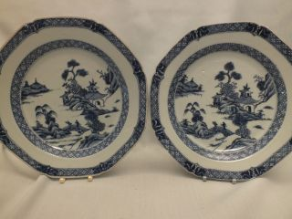 Pr Chinese Porcelain Blue & White Plates With Landscape Scene Decor 18thc photo