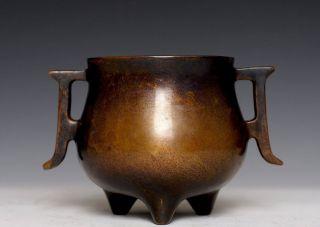 Chinese Antiques Ming Bronze Tripod Incense Burner Censer Marked E252 photo