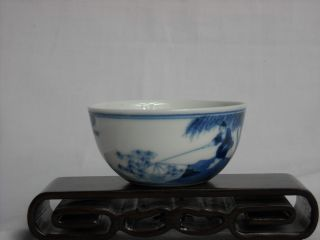 Chinese Blue And White Porcelain Hand - Made Hand - Painted Landscape Bowl Ruoshen M photo